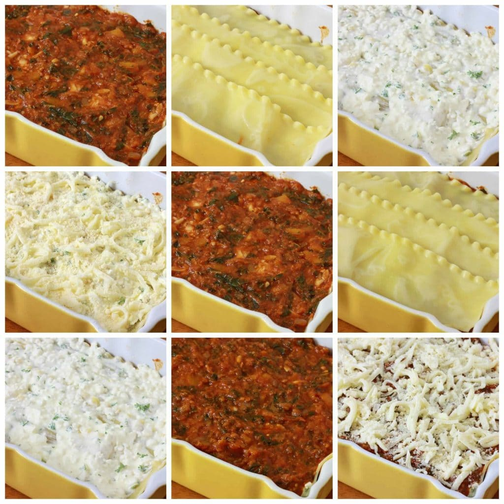 Pumpkin Kale Sausage Lasagna prep