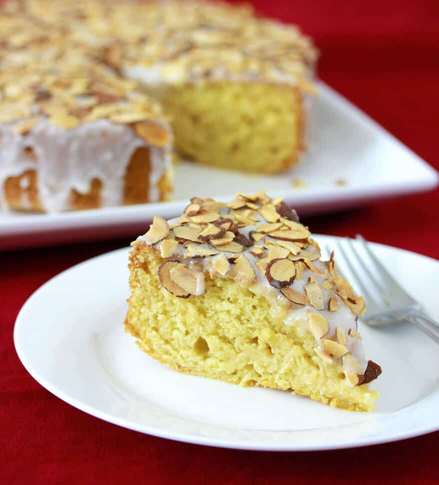 toasted almonds honey cake recipe yogurt moist tender Van de Kamp's copycat dessert baking