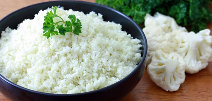 Cauliflower Rice gluten free healthy paleo low carb low fat low cal vegetables alternative