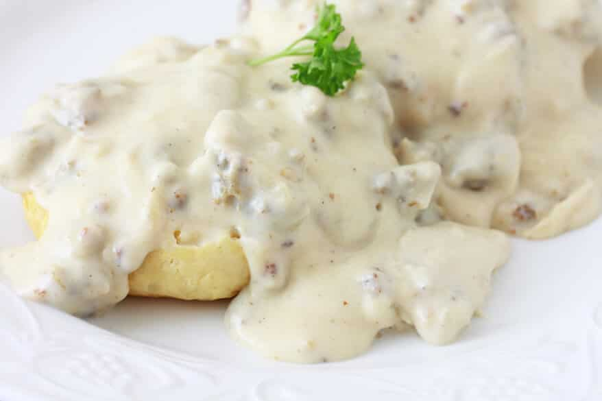 Southern-style Sausage Gravy & Biscuits - The Daring Gourmet