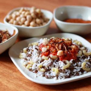 Koshari  (Egyptian Rice, Lentils and Macaroni with Spicy Tomato Chile Sauce)
