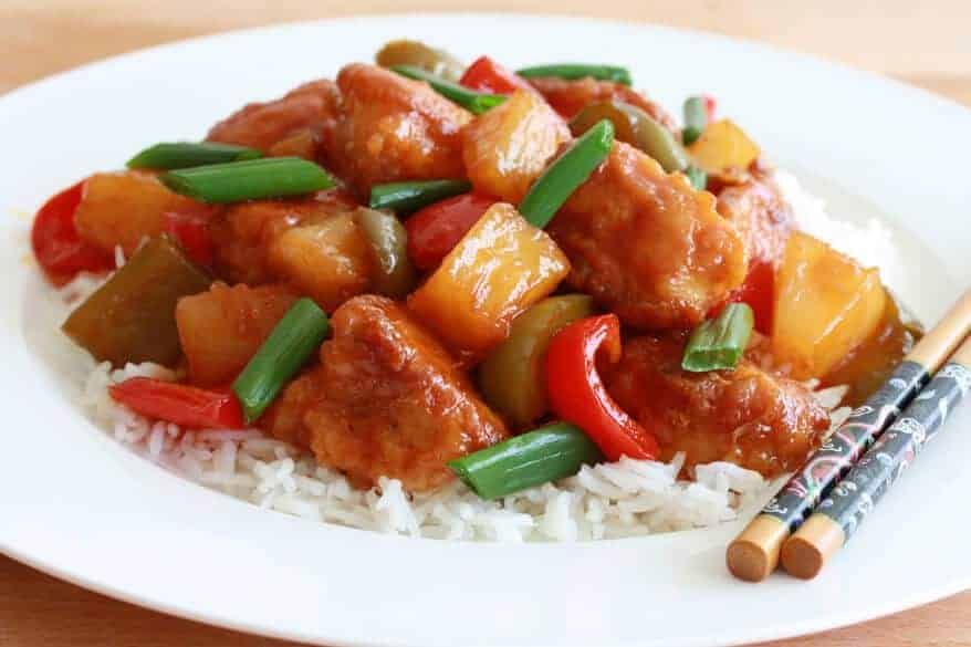 sweet sour chicken chinese asian pineapple bell peppers best recipe