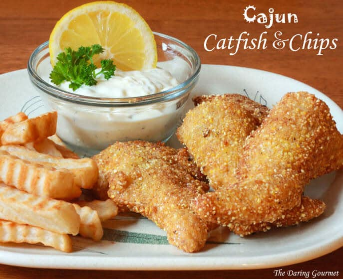 Cajun catfish chips with tartar sauce the daring gourmet for How long to air fry fish