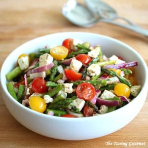 Greek-style Grilled Asparagus Salad with Tomatoes & Feta