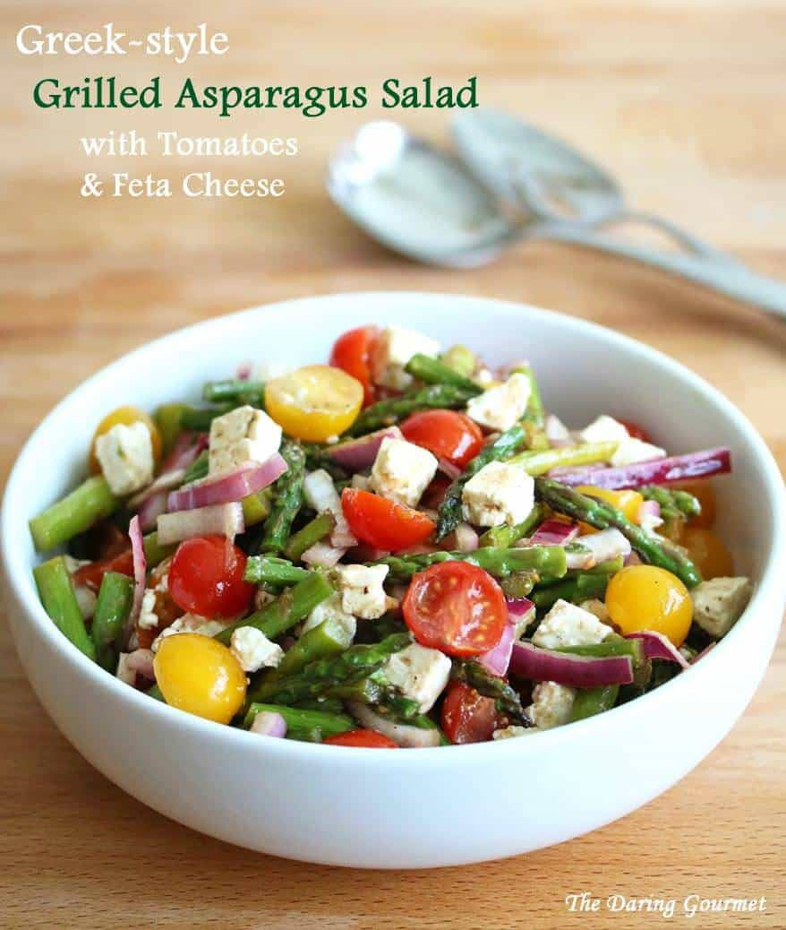 Greek Style Grilled Asparagus Salad With Tomatoes Amp Feta