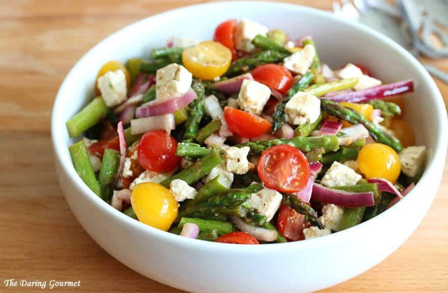 Greek-style Grilled Asparagus Salad with Tomatoes & Feta - The Daring ...