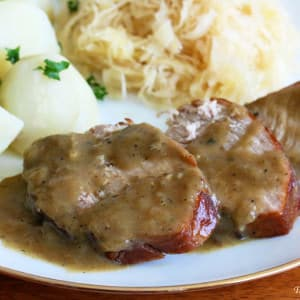Traditional German Senfbraten (Pork Roast with Mustard Gravy)
