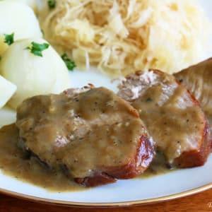 Traditional German Senfbraten (Pork Roast with Mustard Gravy)