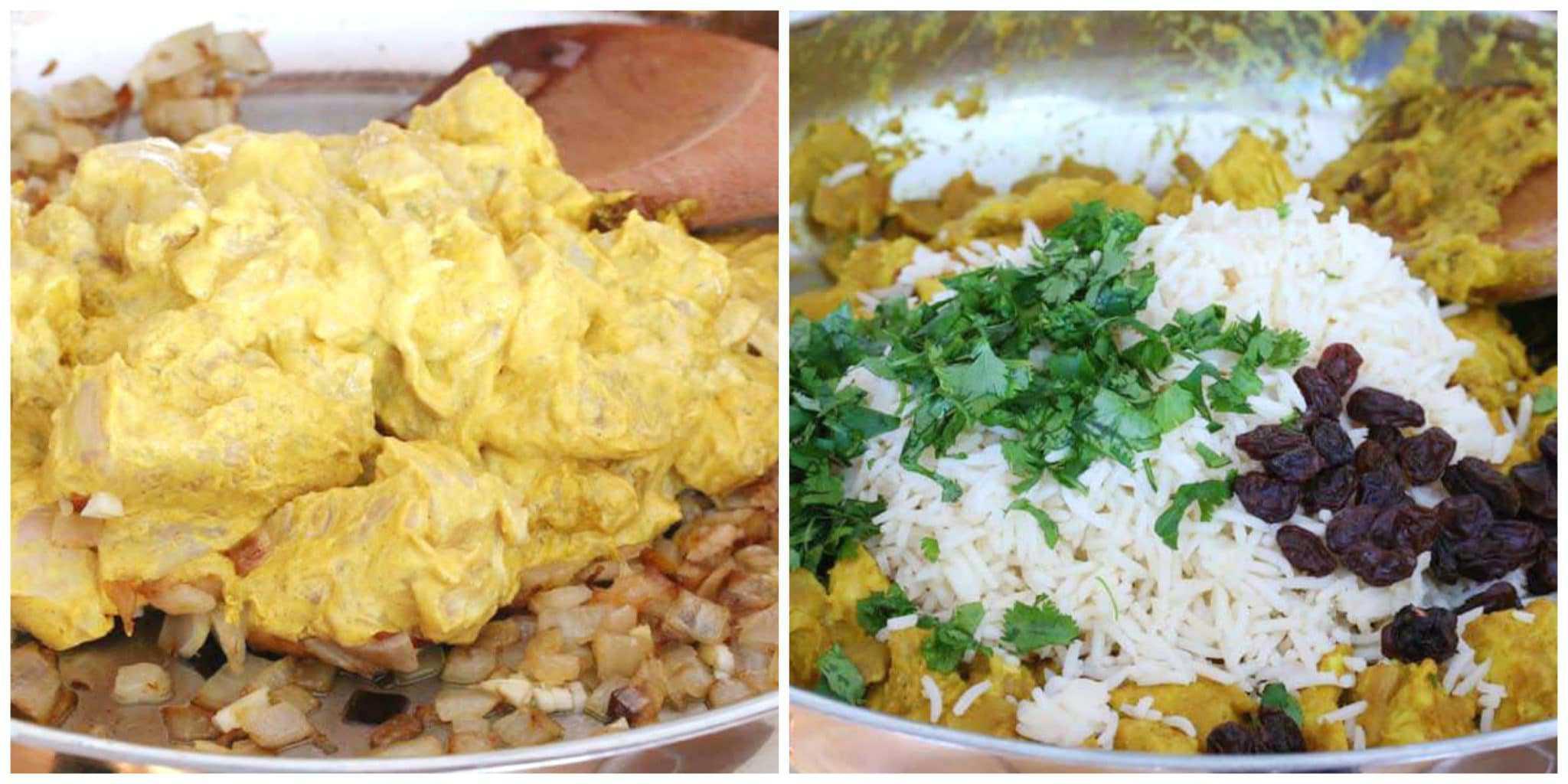 chicken biryani recipe easy Indian fast curry raisins almonds rice basmati