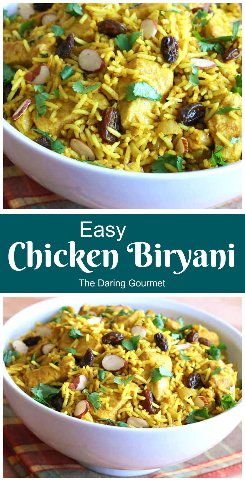 chicken biryani recipe easy fast Indian basmati rice curry raisins almonds