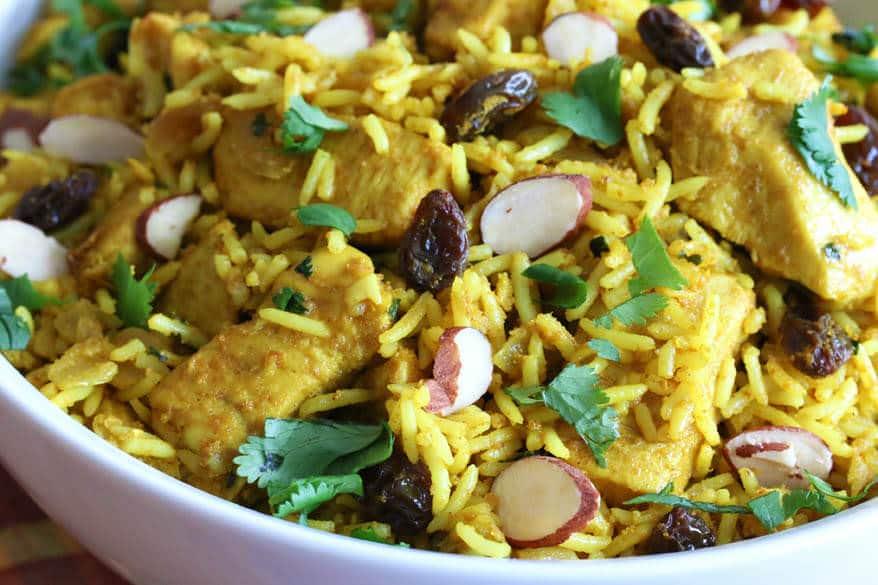 chicken biryani recipe easy Indian fast curry raisins almonds rice basmati simple Uncle Ben's