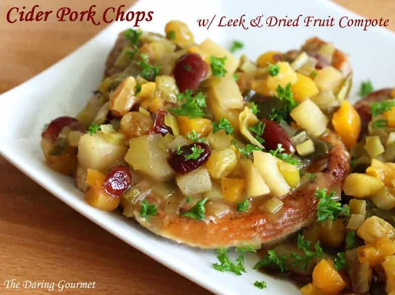 cider fruit pork chops recipe cranberries cherries apricot pear leek compote wine