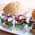 greek burgers recipe beef lamb pork chicken turkey tzatziki sauce gyros feta cheese pine nuts sun dried tomatoes