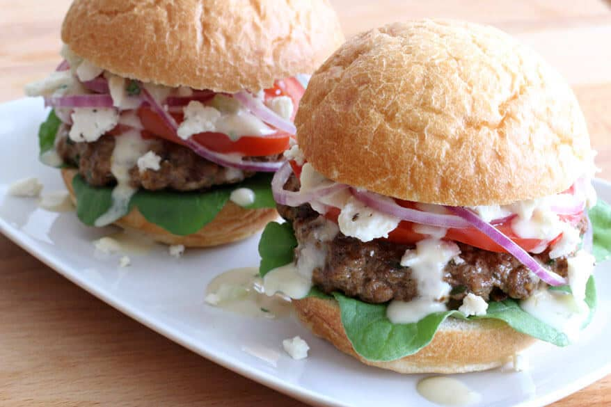 greek burgers recipe best pine nuts sun dried tomatoes tzatziki sauce feta