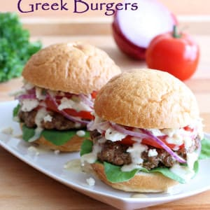 greek burgers recipe beef lamb pork chicken turkey tzatziki sauce gyros feta cheese pine nuts sun dried tomatoes