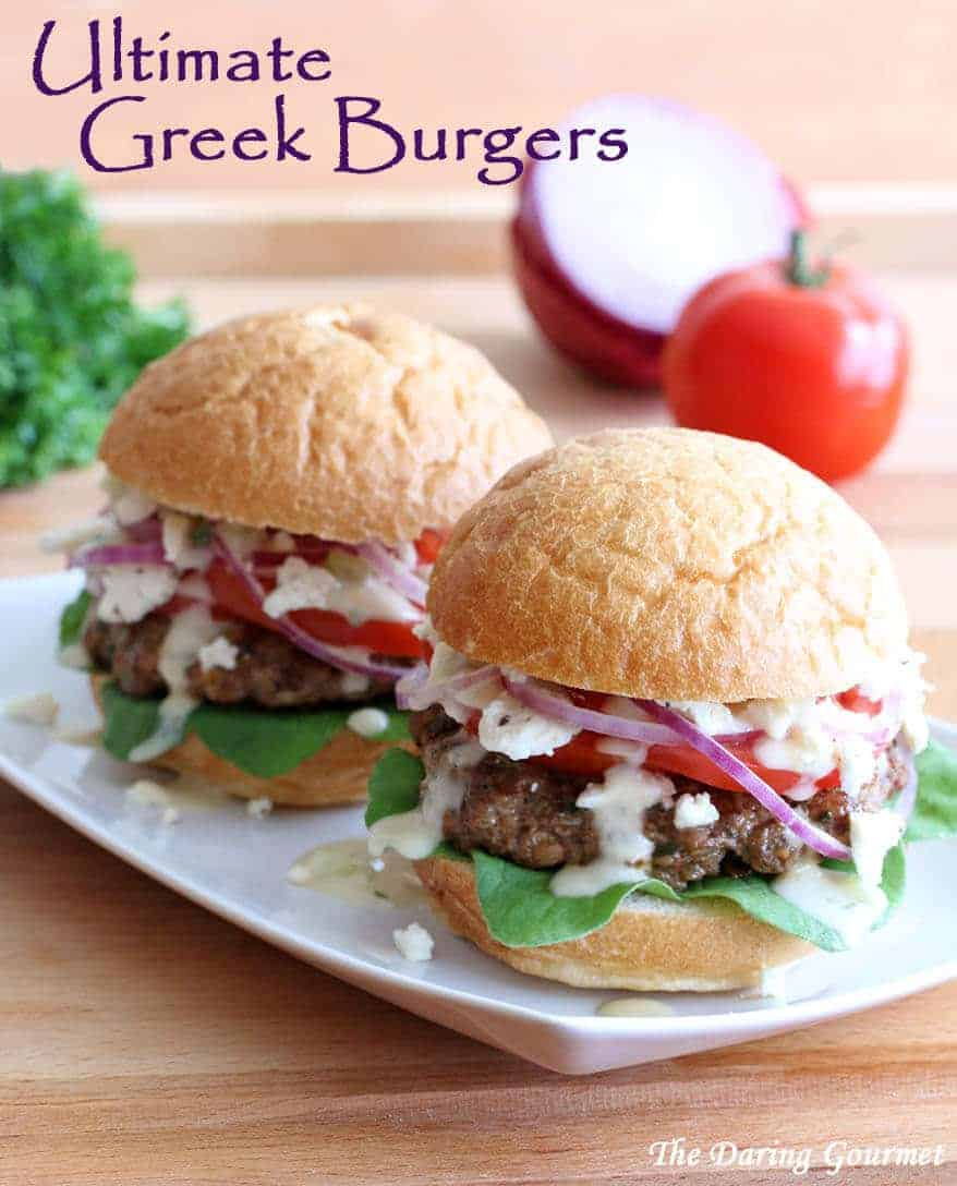 greek burgers recipe chicken turkey beef lamb feta tzatziki sauce pine nuts sundried tomatoes