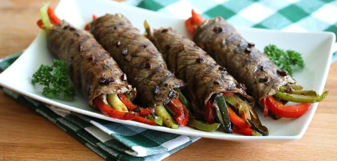 steak rolls balsamic glaze vegetables recipe healthy low calorie low carb low fat