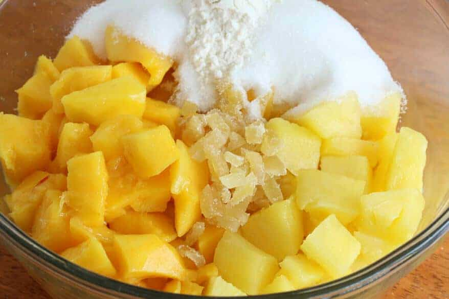 Mango Pineapple Crumble prep 2