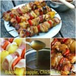Bacon Pineapple Chicken Kabobs with Hawaiian Sauce