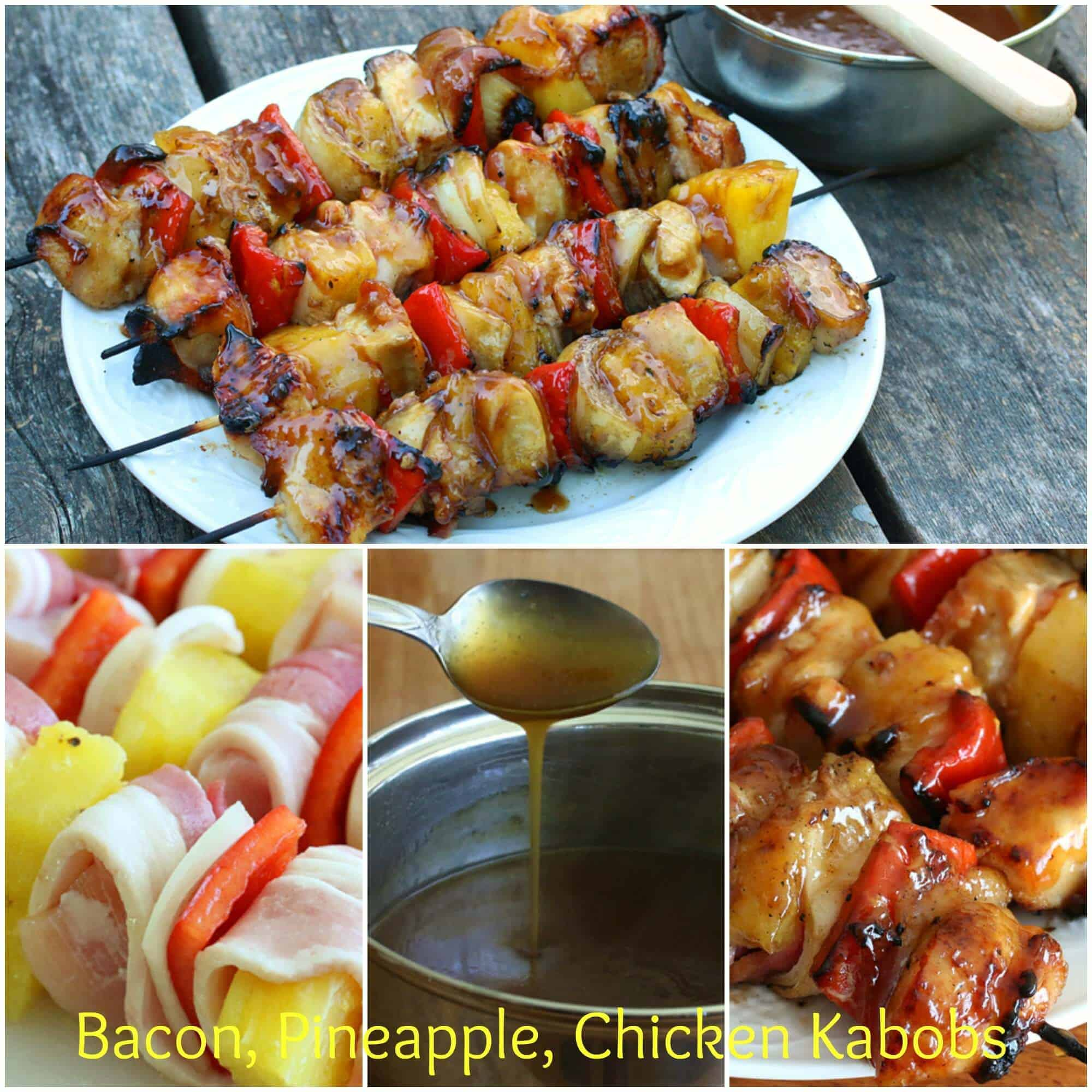 Bacon Pineapple Chicken Kabobs with a sweet and sticky Hawaiian sauce ...