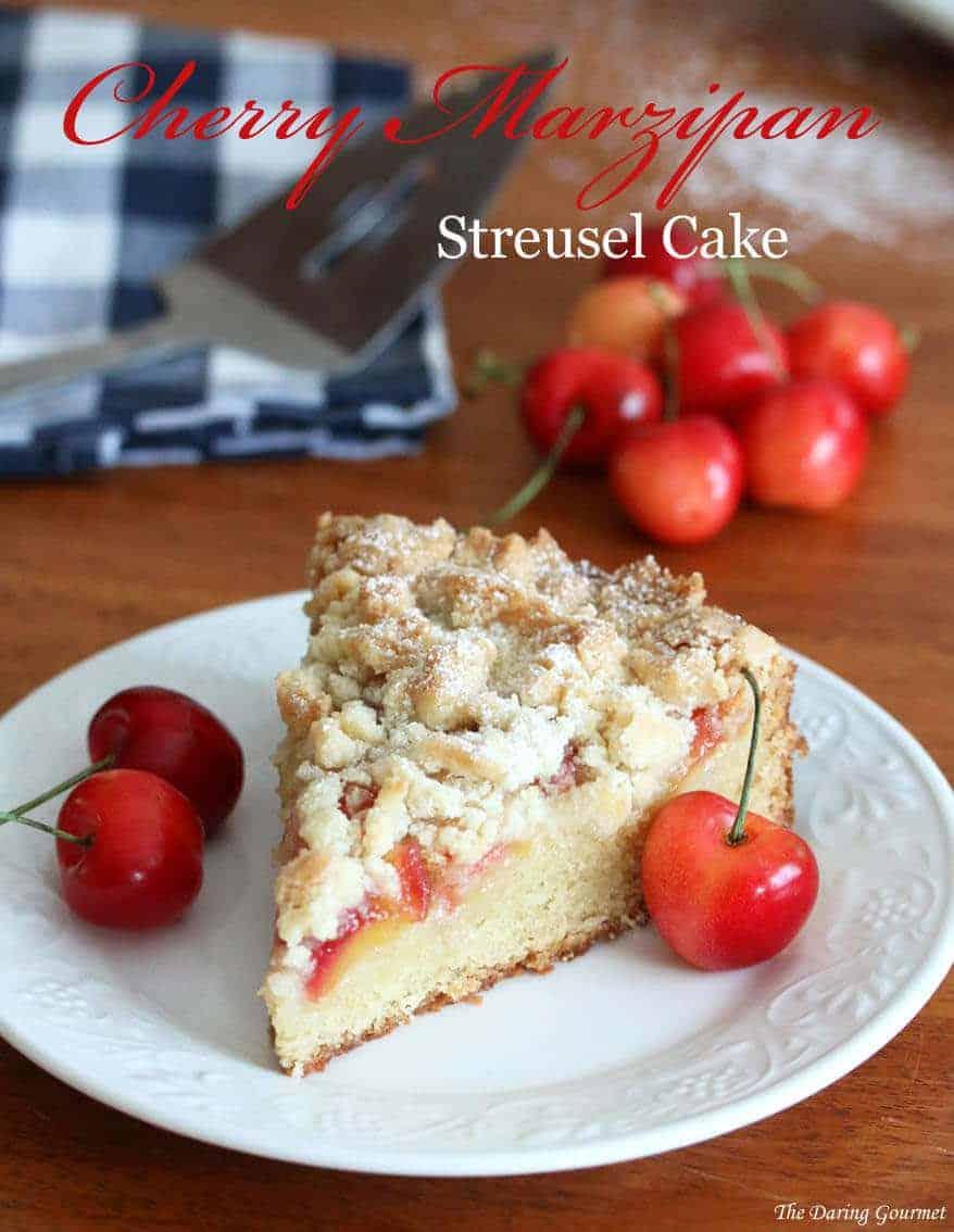 Cherry Marzipan Streusel Cake recipe