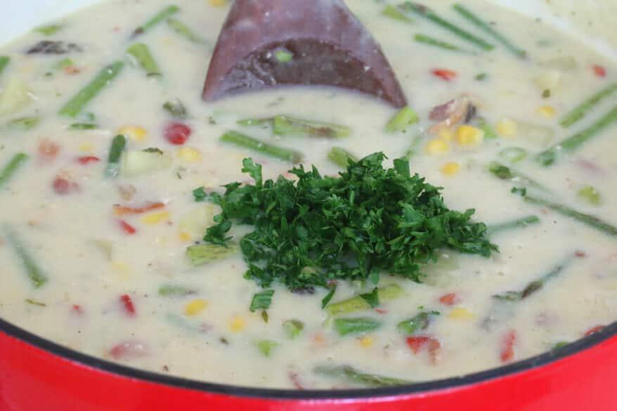 Chicken Asparagus Chowder prep 10