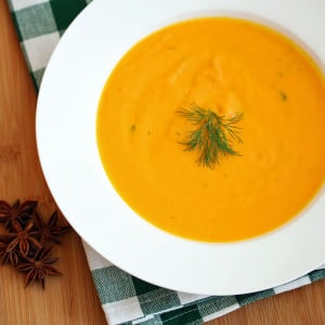 Creamy Carrot Soup with Star Anise and Dill