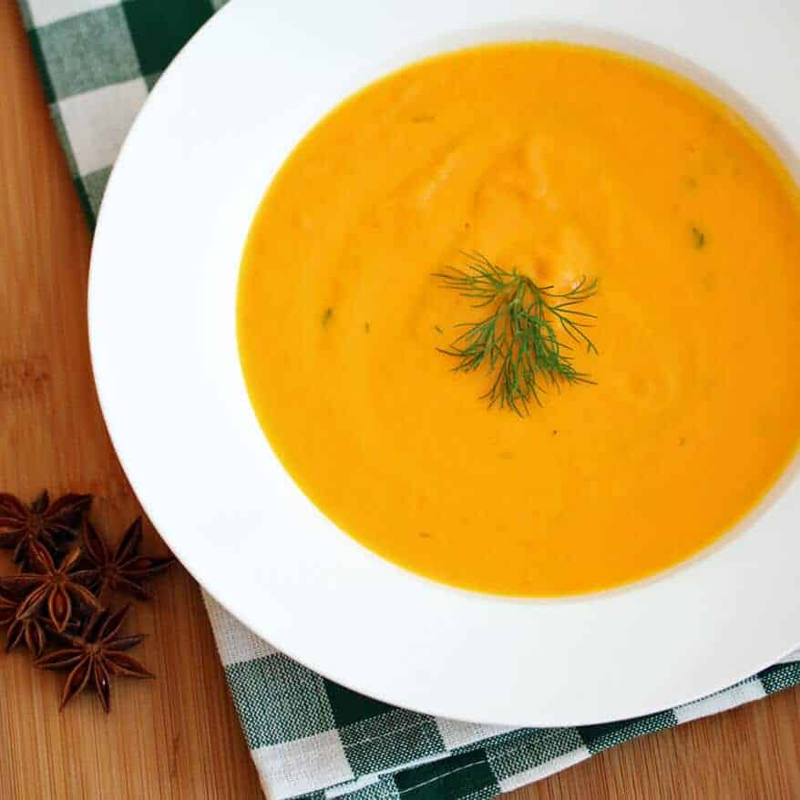 Creamy Carrot Soup with Star Anise and Dill - The Daring Gourmet