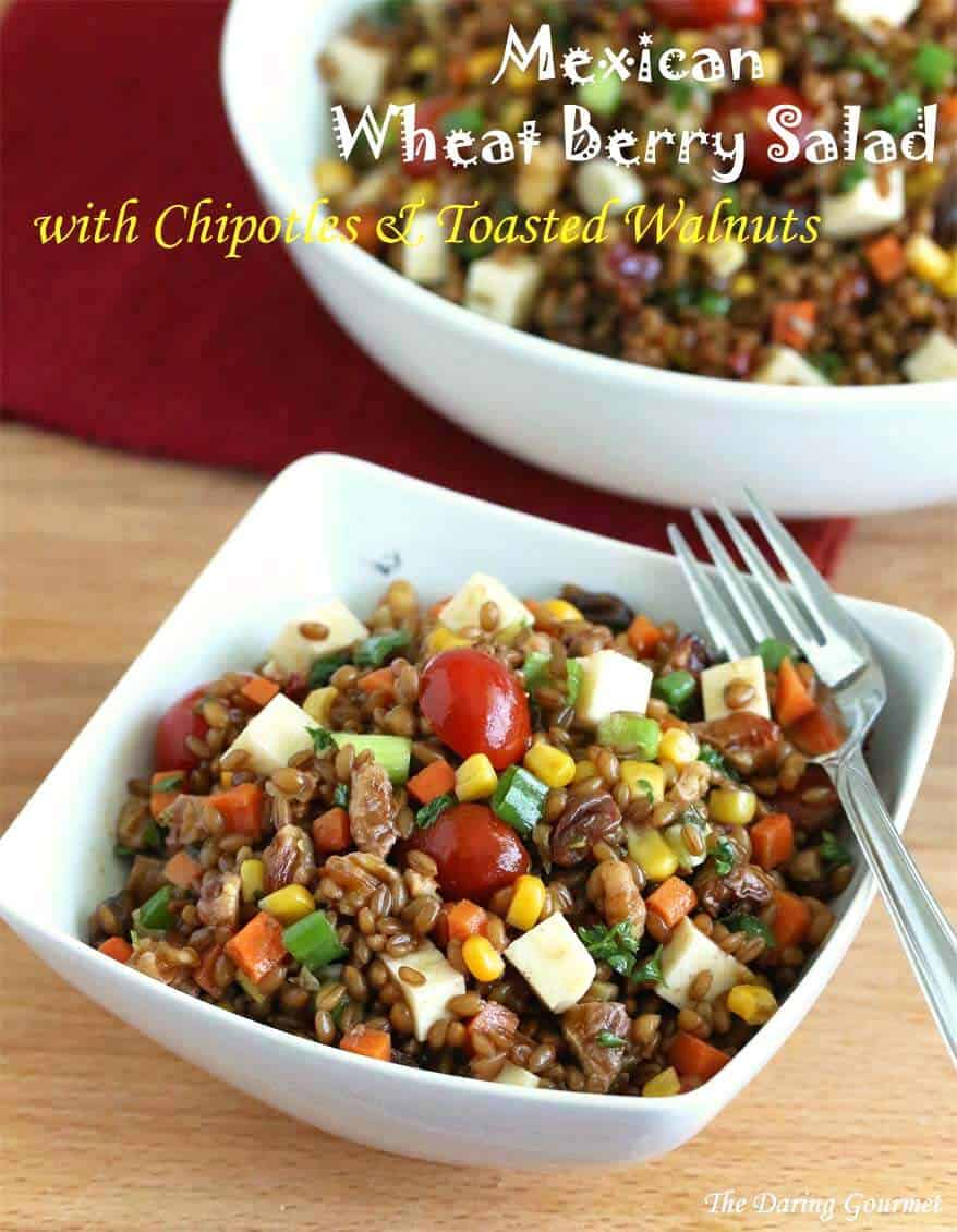 Mexican Wheat Berry Salad chipotles corn tomatoes cheese walnuts raisins carrots onions vinaigrette recipe