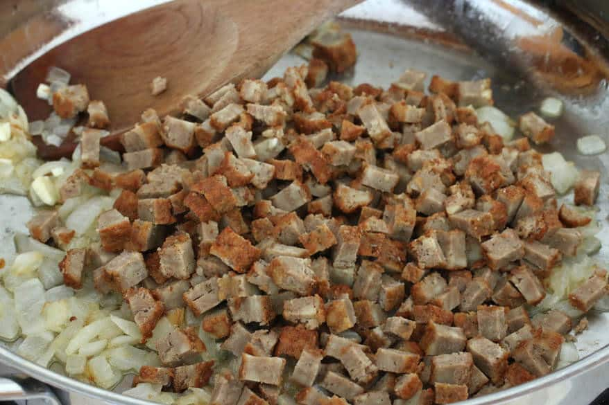 Vegetarian Sausage Gravy & Biscuits prep 7