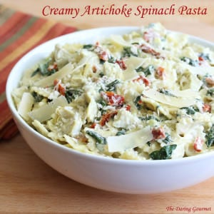 creamy cheesy artichoke spinach pasta salad recipe easy fast quick