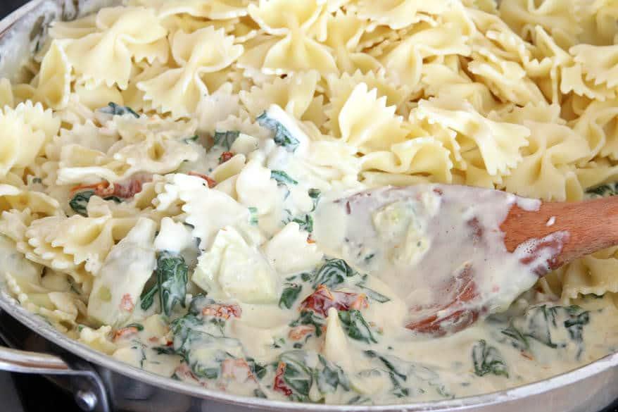 Spinach Artichoke Pasta prep 11