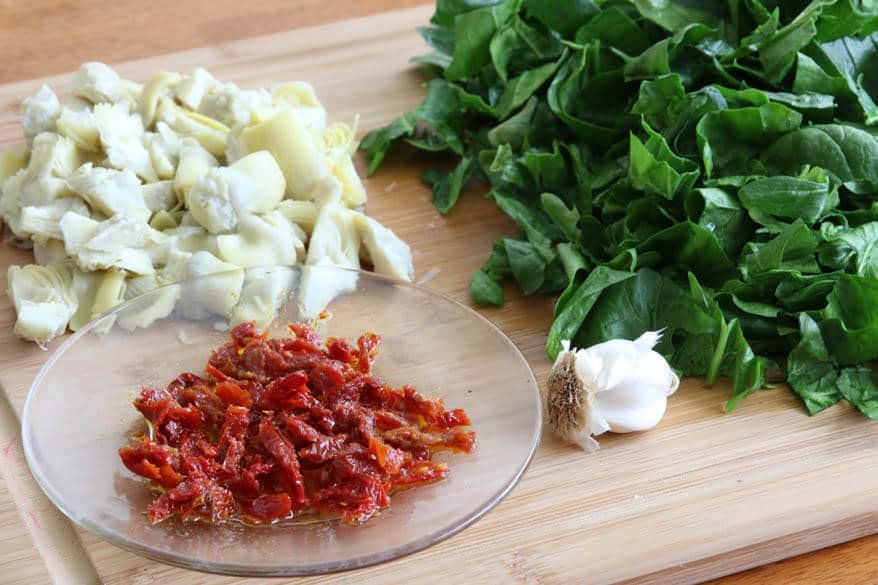 Spinach Artichoke Pasta prep 6
