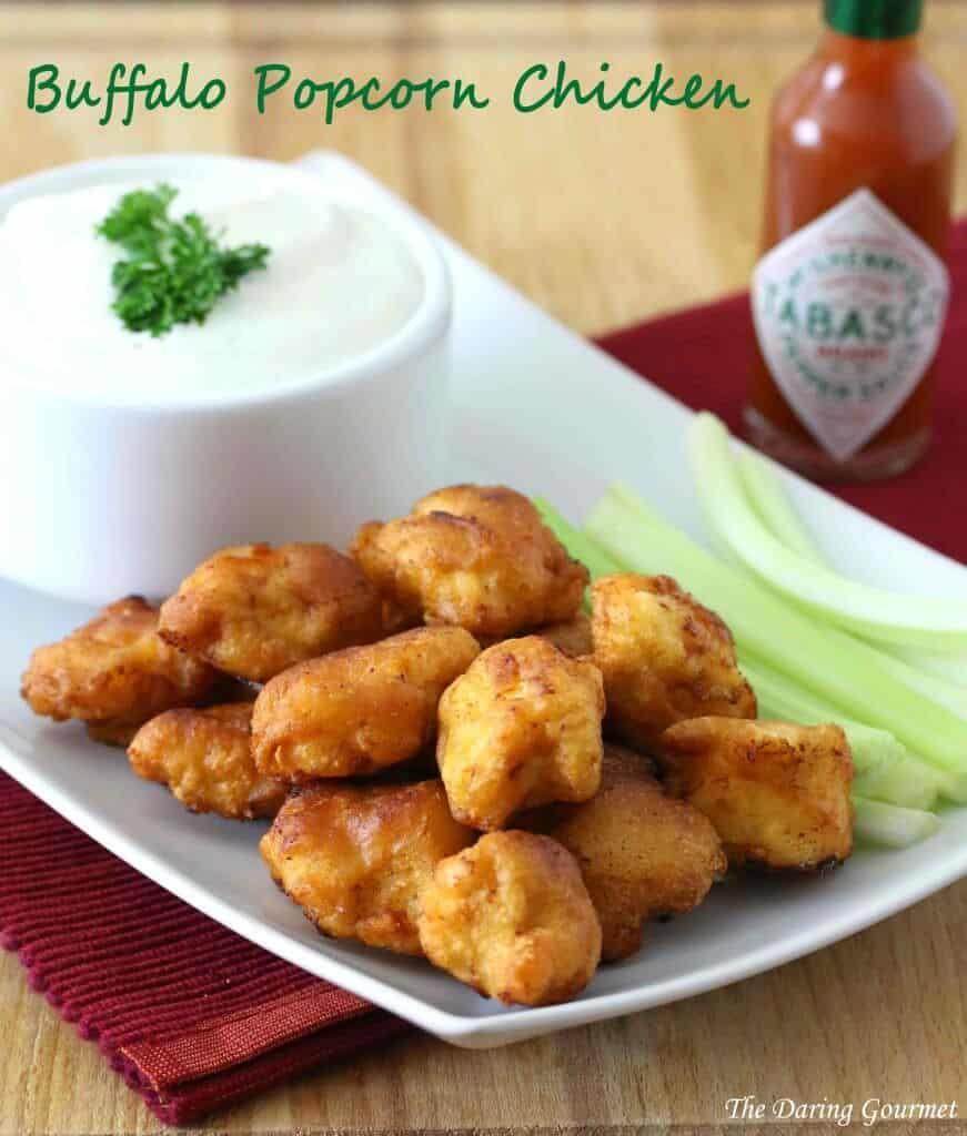 buffalo popcorn chicken recipe spicy fried blue cheese celery