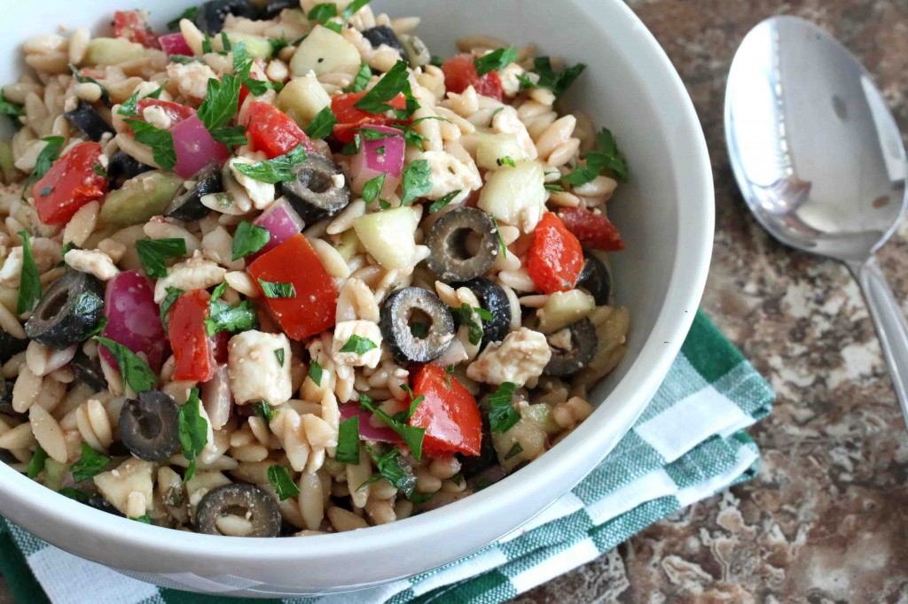 Greek orzo salad recipe feta cheese olives cucumber red onion vinaigrette healthy