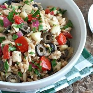 Greek orzo salad recipe feta cheese olives cucumber red onion vinaigrette healthy