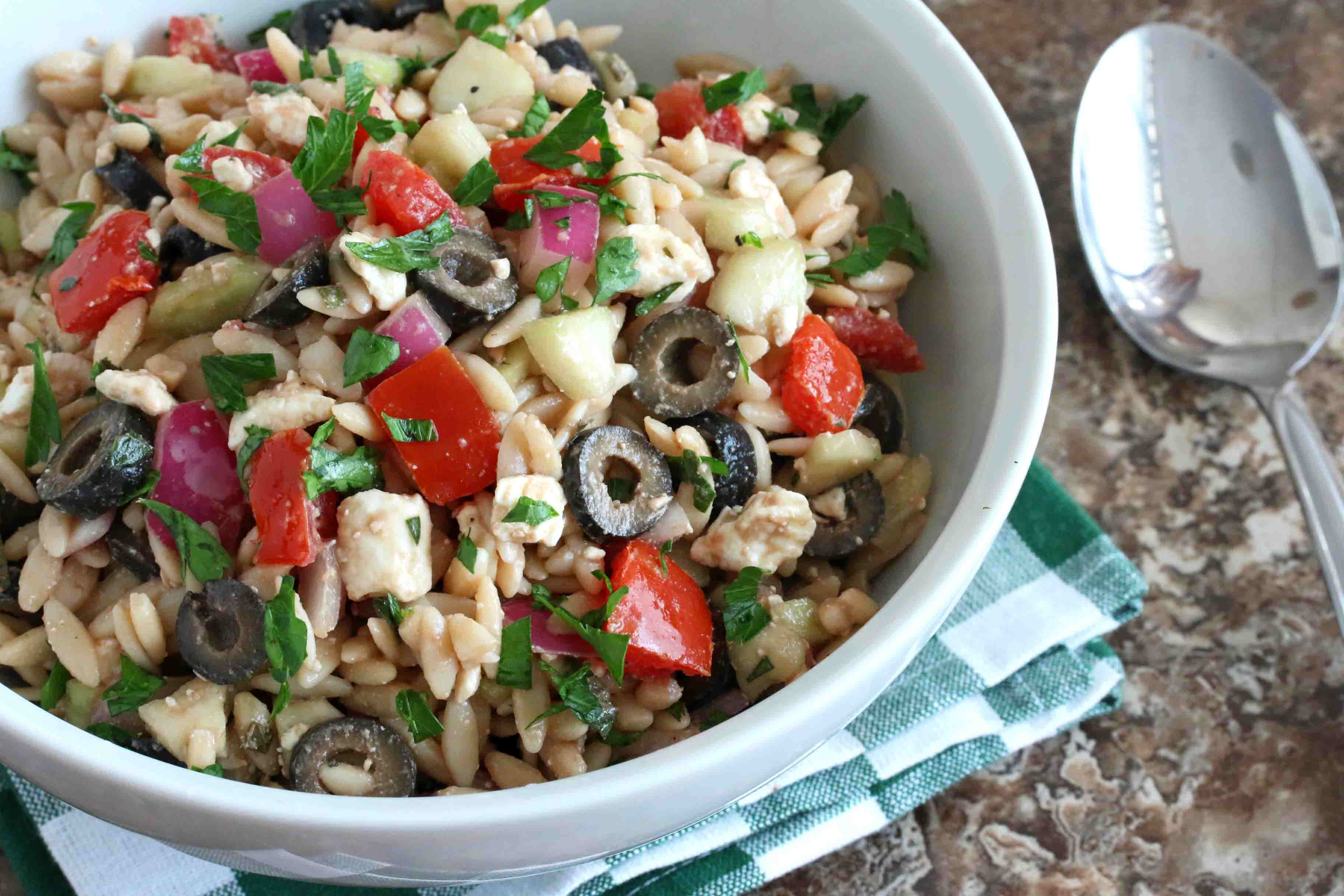Greek orzo salad the daring gourmet - Where can i buy olive garden salad dressing ...