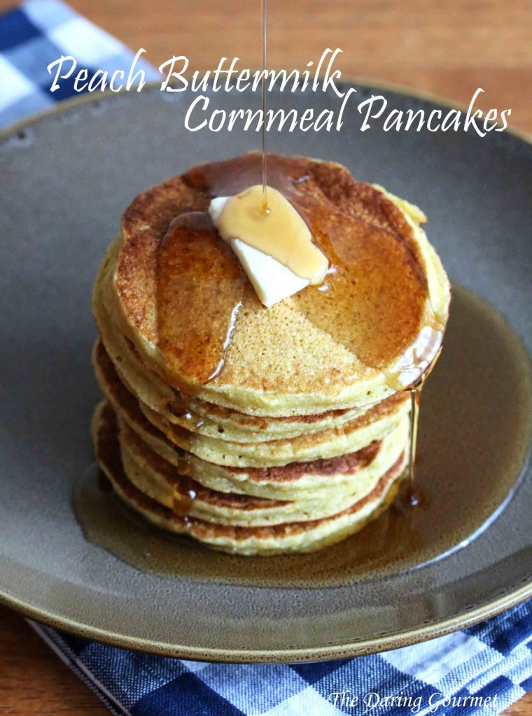 Peach Buttermilk Cornmeal Pancakes - The Daring Gourmet