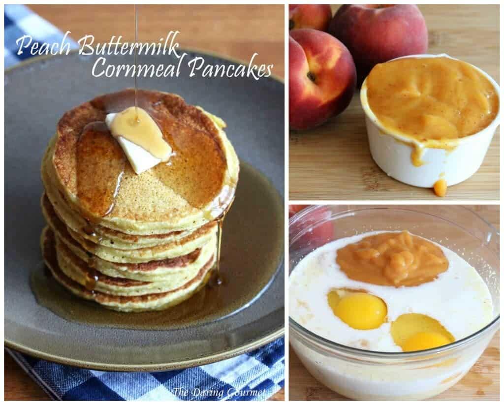 Peach Buttermilk Cornmeal Pancakes - The Daring Gourmet