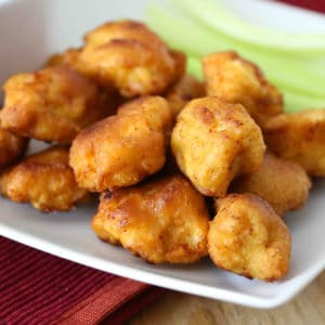 popcorn chicken recipe buffalo style hot spicy blue cheese dressing