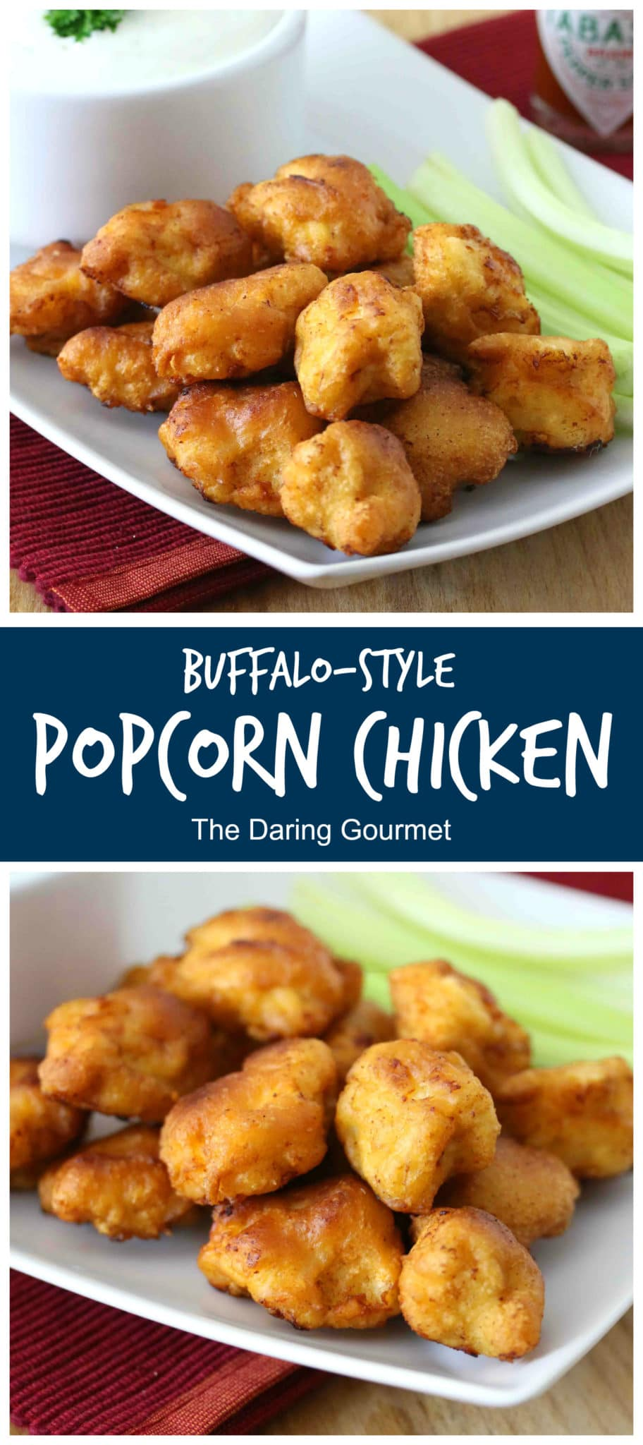 popcorn chicken recipe buffalo style hot spicy blue cheese dressing