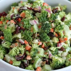 creamy crunchy broccoli salad recipe raisins cranberries nuts sunflower seeds