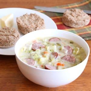 Creamy Cabbage & Kielbasa Soup