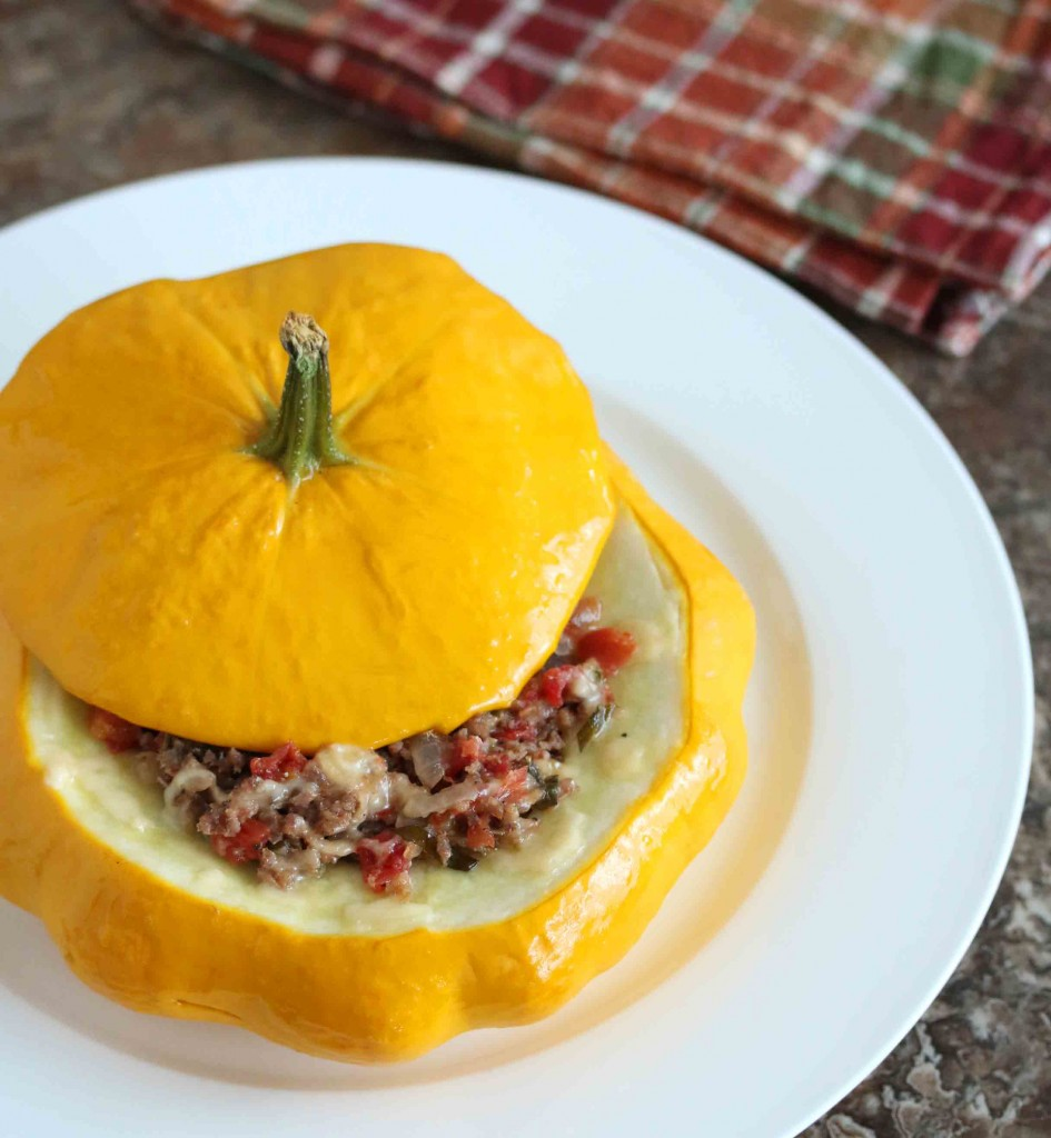 italian baked squash stuffed recipe sausage tomatoes herbs