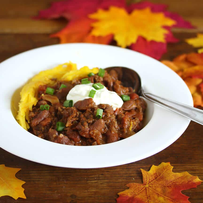 dinner chili baked in a pumpkin recipe
