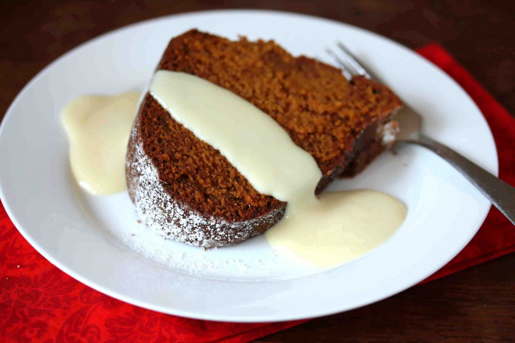 Pumpkin Eggnog Cake Eggnog Custard Sauce recipe holidays Thanksgiving Christmas dessert