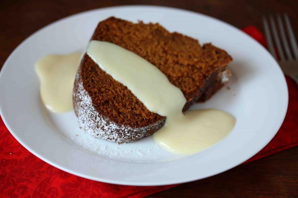 Pumpkin Eggnog Cake with Eggnog Custard Sauce - The Daring Gourmet