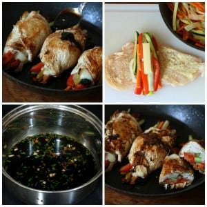 Balsamic Glazed Chicken Rolls Collage 1