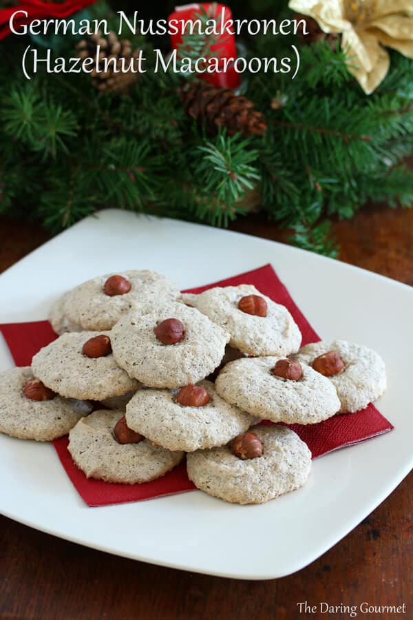 Nussmakronen hazelnut almond nut macaroons recipe Christmas German