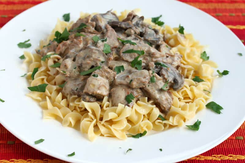 Slow Cooker Beef Stroganoff on steak with cream sauce recipe